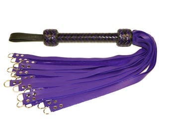 Metal Dee Ring Flogger with Purple Leather Tails