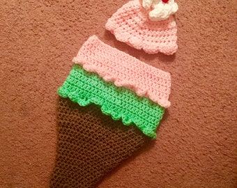 Crochet Ice Cream Cone Baby Hat and Cocoon photo prop set