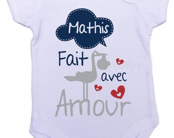 Baby onesie Bodysuit made with love with the name of your choice