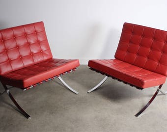stunning set of two 2 vintage barcelona chairs in original red uphostery