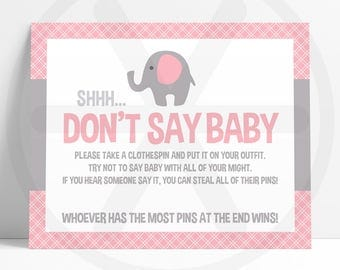 Dont Say Baby Game - Don't Say Baby Sign - Pink Elephant Baby Shower Printable Games - Funny Baby Games - Girl Baby Shower Activities