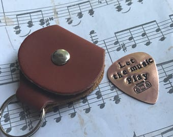 Choose your lyrics personalized guitar pick and leather guitar pick holder/ Personalized guitar pick holder keychain