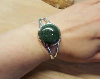 Moss agate Cuff bracelet. Reiki jewelry uk. Silver plated  Adjustable bracelet. Virgo jewelry