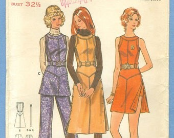 1970s Misses' Dress, Jumper, Tunic, Pants & Shorts Uncut Factory Fold Size 10 - Butterick Sewing Pattern 6931