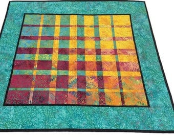Modern Art Quilt, Convergence Quilted Wallhanging, Fabric Wallhanging, Vibrant colors Aqua, Golden Yellow, Fuchcia, Quiltsy Handmade