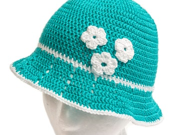 Summer hat, 100% cotton, crochet hat, turquoise blue cotton, size 1.5 - 2 years