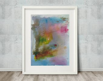 """Original Watercolour Abstract Painting - Contemporary Vibrant Landscape Floral Abstract Watercolour Wall Art - Pink Blue Green Yellow 9""""x12"""""""