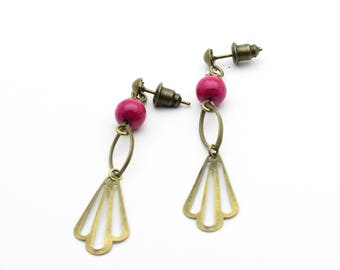 Hanoi in marble and dyed pink earrings