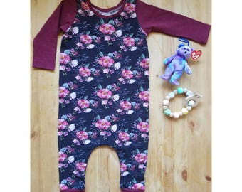 Wine Melange/Black Floral Harem Coverall, Harem Romper, Toddler Romper, Girl One Piece, No Snaps, Organic Cotton, 12-18 months, Long Sleeve