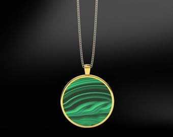 Malachite in 18K Gold or Silver Gold Plated Pendant
