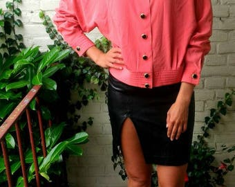 CORAL PiNK button down blouse jacket amazing quality heavy buttons Italian couture blouse silky fabric work suit