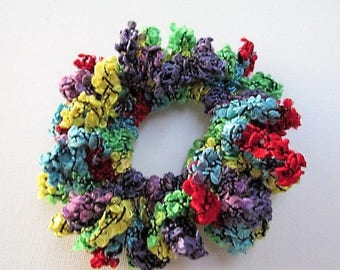 Scrunchie, multi coloured scrunchie, rainbow scrunchie, handmade scrunchie in rainbow yarn, hair tie, ballerina hair tie, bun holder, dancer