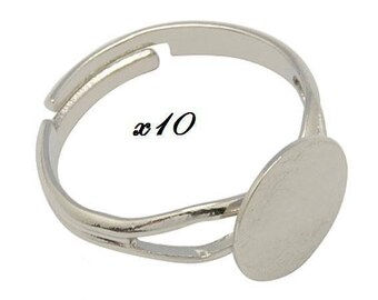 10 blank rings adjustable silver plated brass with 6mm tray