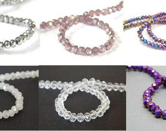 20 beads abacus faceted glass in 3 and 4mm