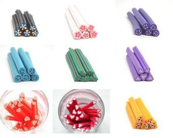 5 fimo canes models various //fleurs//coeurs//feuilles//smileys//ourson//papillon//oeuf//glace//gateau 50mm