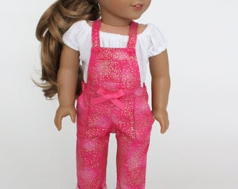 18 inch girl doll clothes - Gold splatter pink overalls and peasant blouse