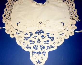 Antique Baby or Doll Hand Embroidered & Crocheted Ecru Dress Bib