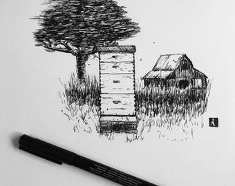 KillerBeeMoto: Original Pen Sketch of A Beehive with barn.