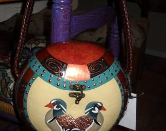 gourd,gourd art,gourd purse,fine gourd art,handcrafted gourd,Wood Duck purse,hand carved gourd,functional gourds,paintgourd,decorated gourds