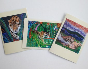 Art Nouveau Pagan Colorful Tiger Lion Leopard Wildlife Greeting Cards Folk and Mindfulness Art Original Designs Fantasy Pack of 3