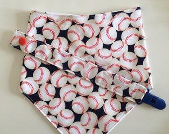 Blue Baseball Baby Bandana Bib and Pacifier Clip Set