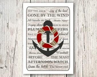 Nautical decor - anchor print - gift for him - sailing gifts - beach house decor - anchor wall art - coastal decor - quote prints