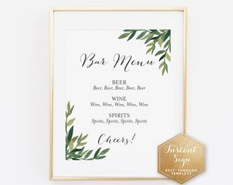Watercolor Leaves Printable Bar Menu Sign | Wedding Print | Guest Book Sign | Wedding Decor | Instant Download Sign | Instant Sign