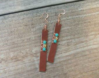Wire Wrapped Leather Strip Earring - Leather Earrings