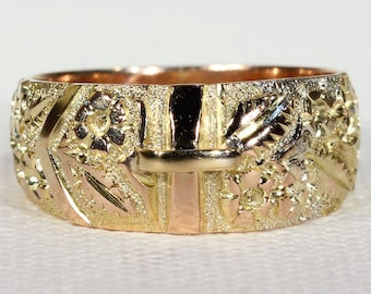 Antique Gold Buckle Ring 9k Gold 1899 Size 7