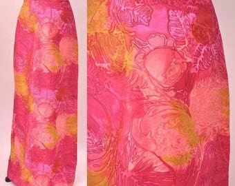 Vintage 60s pink and orange fruity psychedelic floral long pencil skirt