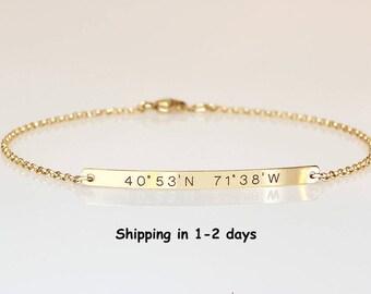 Gold  Bar bracelet, Engraved Roman numerals bracelet, Wedding Date bracelet, Custom name Personalized bracelet, Nameplate Bridesmaids Gift