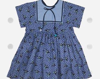 Bird Print Blue Cotton Summer Party Girl Dress, 3-4y. Cotton Dress, Girl Dress, Bird Print, Summer Look, Girl Clothing, Birthday Dress