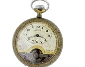 Chateau Cadillac 8 Day Pocket Watch Openscape Plated Engraved Case 6 Jewel Movement