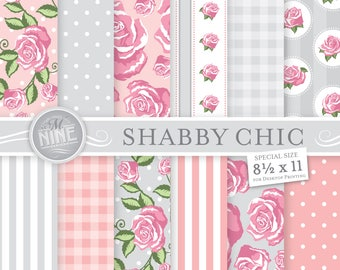 SHABBY CHIC Digital Paper / 8 1/2 x 11 Pink and Grey Shabby Chic Patterns Printables / Shabby Chic Downloads, Shabby Chic Scrapbook Paper