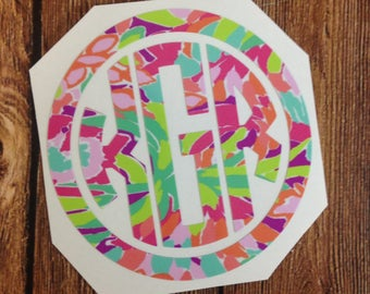 Monogram Decal Lilly Vinyl Sticker Personalized Monogramed Circle Decals