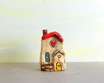 Clay house, Clay sculpture, Small house, Housewarming gift, Rustic house, Little house, Miniature house, Home gift, Christmas decorations