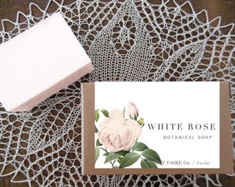 white rose soap | rose soap with cashmere & fir needle | winter rose glycerine soap | 4 oz botanical bath bar