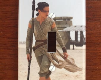 Star Wars light switch plate // The Force Awakens Rey // PERSONALIZED