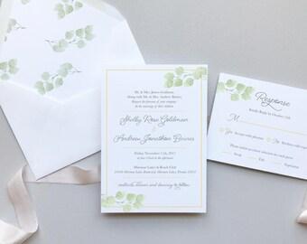 Eucalyptus Greenery Wedding Invitation Suite Sample / Simple Elegant Garden Wedding / #1109