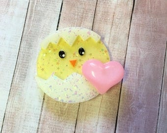 Kawaii Hatched Chick Hair Clip (pink heart)