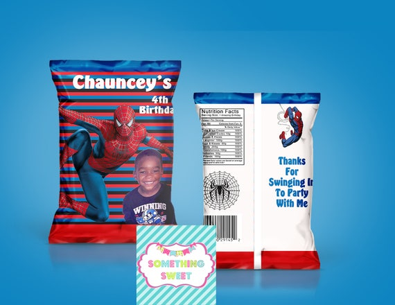 spiderman chip bag spiderman treat bag custom chip bags custom party favors birthday party. Black Bedroom Furniture Sets. Home Design Ideas