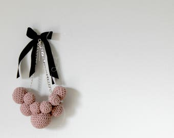 Wool Necklace with crocheted bal