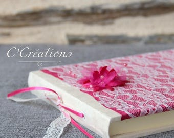 Guestbook {Pink} fuchsia nepalese paper, ivory lace and flowers