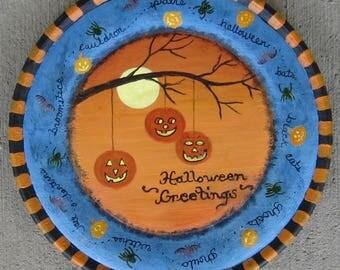 Vintage halloween painting, halloween folk art, halloween painting, jack-o-lanterns, bats, ghosts, spiders, halloween painting