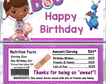 DOC MCSTUFFINS Birthday Chocolate Bar Wrappers - Doc McStuffins Party Candy Bar Wrap - Custom Doc McStuffins Birthday Candy Wraps