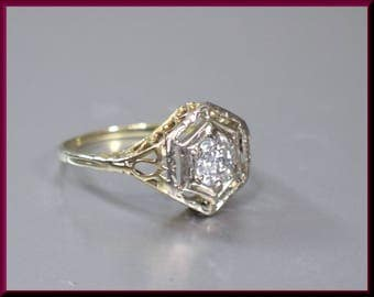 art deco engagement ring antique engagement ring filigree engagement with old european cut diamond 14k yellow - Art Deco Wedding Rings