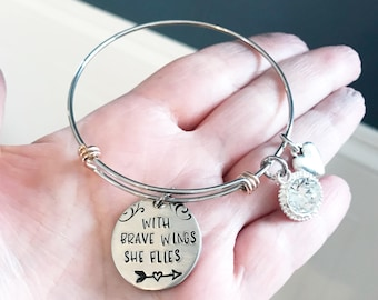 Bracelet - Hand stamped bracelet - With brave wings she flies - Courage gift - Gift for strong woman - Adjustable bracelet - Gift for friend