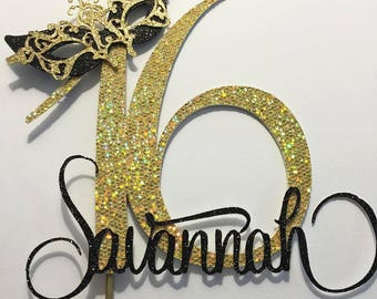 15 Numeral/Name Glitter Cake Topper with Mask Plus Cake Mask