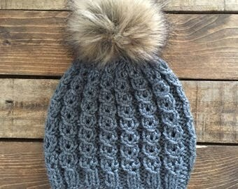 Knit Pom Pom Hat > Knit Kid's Hat > Knit Baby Hat > Fur Pom Pom Hat > Cable Knit Beanie > Toddler Hat > Photo Prop Hat > Adult Knit Hat