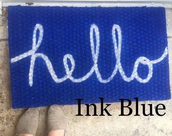 Blue Hello Welcome Mat Hello Door Mat